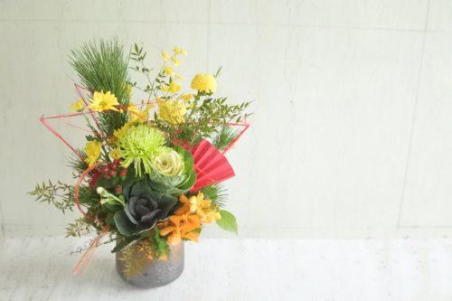 お正月 受付花 会社 企業 迎春アレンジ 松アレンジ 菊 葉ボタン 正月花 お正月のアレンジメント