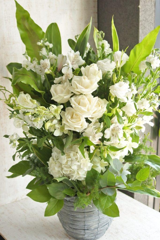 フラワーギフト 白グリーン バラ デンファレ 開店祝い 直置き クリニック 美容室 アパレル 歯科医院 日持ちする花 高価に見える花 プレゼント