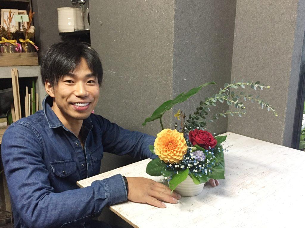ホワイトデー フラワーレッスン 初心者でも簡単 ダイニングテーブル 大阪市配達 無料レッスン 出張レッスン