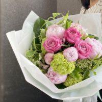 シャクヤク,花束,初夏のお花,送別会,お誕生日,大阪市配達,お花の配達,ロングブーケ,女性のプレゼント,ブーケ