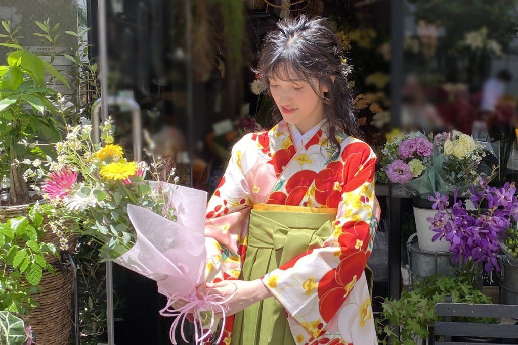 袴,撮影,セルフィット,selfit,卒業式のお花,卒業式花束