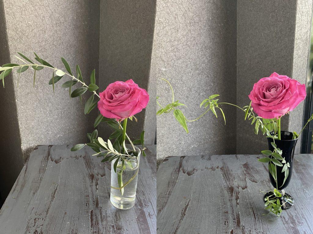 ガラスの1輪挿し,バラ,カラー,夏のお花,ガラス花器,1輪挿し