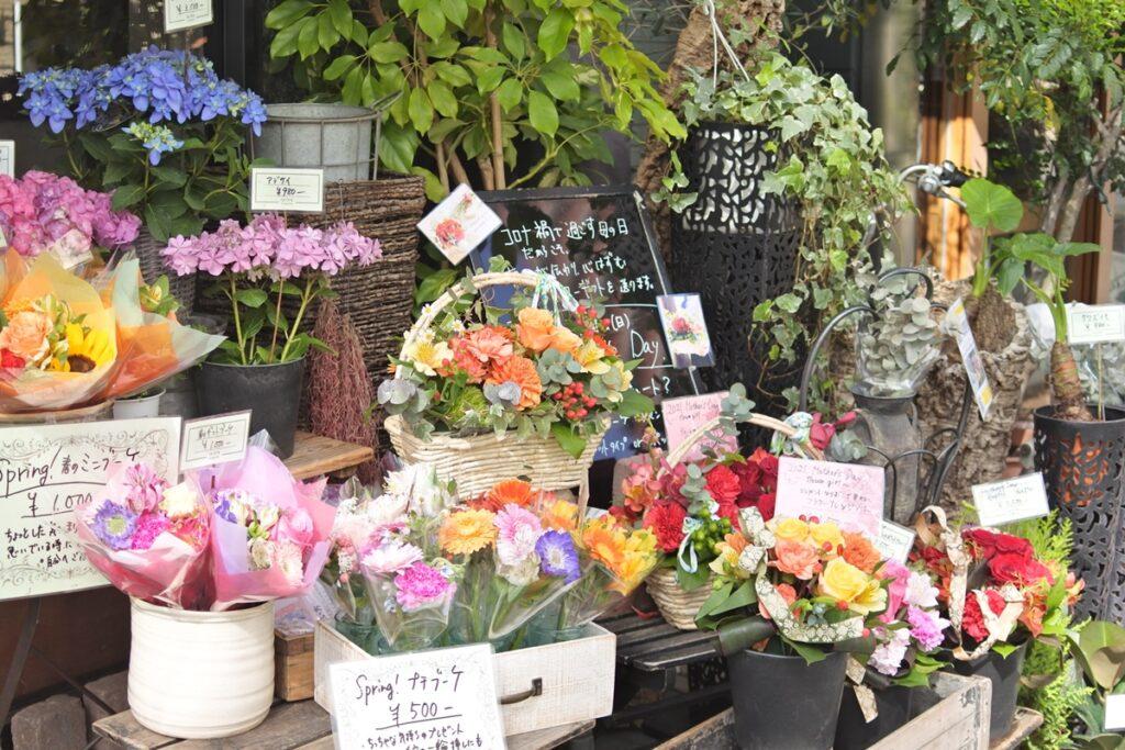 お店の外観,お花屋さん経営者様のオンライン活用支援プログラム,店頭店出し,商品陳列