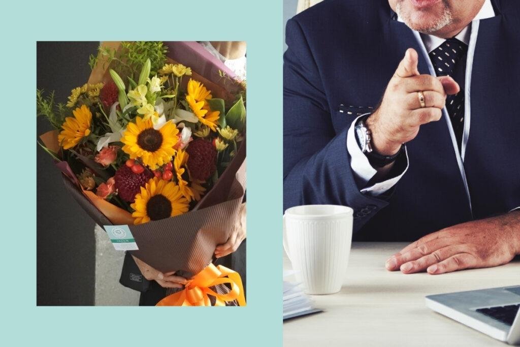 上司に贈る,送別用花束,男性用,ロングブーケ,会社で使う,大阪市花屋,大阪市西区配達,大阪市北区配達,グリュック,個性的な花束,ひまわりの花束,カッコいいブーケ,オレンジの花束